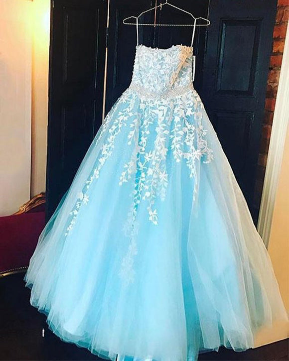 Sweetheart Prom Dress Blue Girls Formal Gown With White Lace