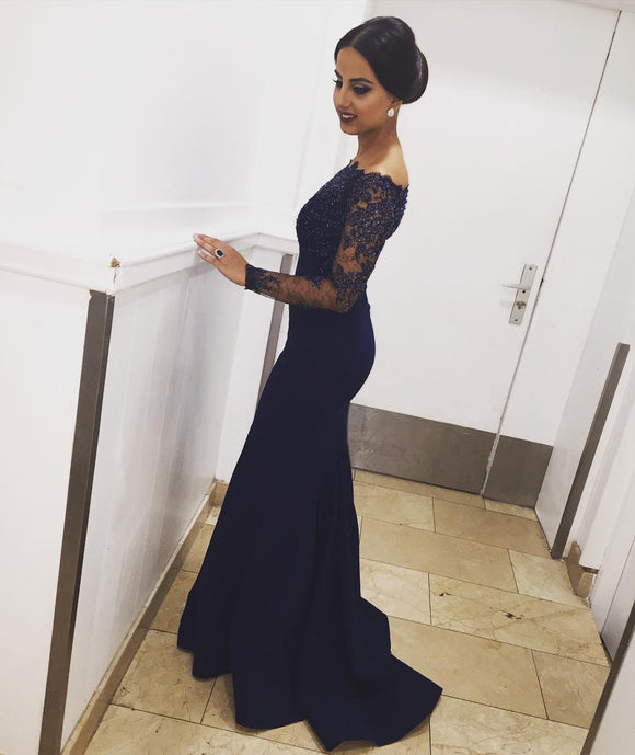 Off the Shoulder Mermaid Evening Dresses Long Sleeves Lace Women Formal Gowns Royal Blue