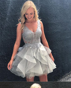 Silver Gray Lace Short Homecoming Dresses V Neck Party Gown with Straps SP330