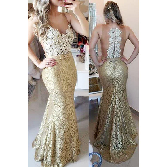 Siaoryne LP008 Champagne Lace Mermaid Prom Dresses for Women