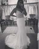 Mermaid Lace Beach Wedding Dress Boho Bridal Gown WD874