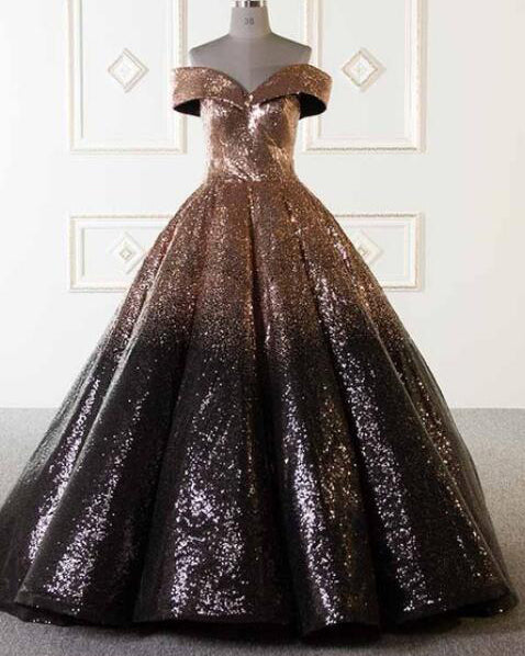 14516f22ac ... Bling Bling Sequins Gold Black Ball Gown Prom Dresses Off Shoulder  Formal Evening gown masquerade ...
