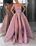 Lavender Strapless Formal Gowns Women 2019 Prom Dresses Long with Slit PL3644
