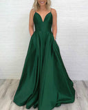 Fashion A Line Satin Long Girls Formal Prom Dress 2019 With Pocket PL5244