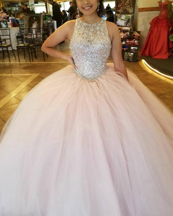 Siaoryne Beading Crystal Blush Pink Ball Gown Girls Sweet Sixteen Quinceanera Dresses Masquerade PL1104