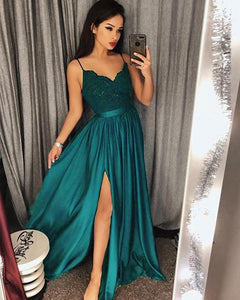 Teal Long Spaghetti Straps Long Party Prom Dresses with Slit party Gown PL2058