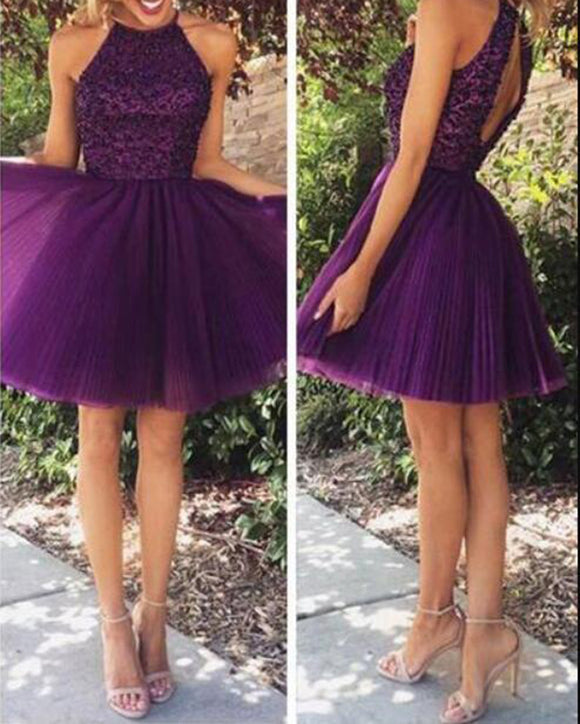 Grape Purple Short Homecoming Prom Dress Beading Halter Poofy Graduation Gown