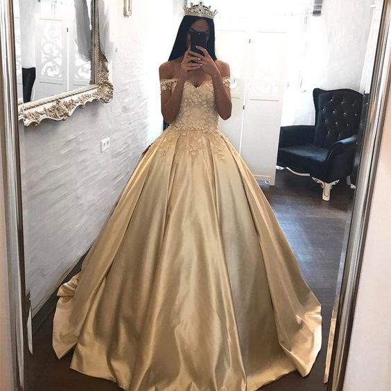 Siaoryne LP005 Long satin Prom Dress Off the Shoulder Champagne with Lace