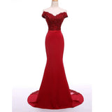 Siaoryne LP003 Red Lace Mermaid Bridesmaid Dress off the Shoulder Wedding Guests Dress