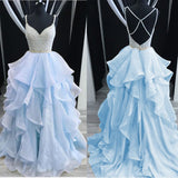 Dreamy Spaghetti Cross Back Beading Tiered Organza Girls Senior Dresses 2020 Prom Beaded Graduation Gown