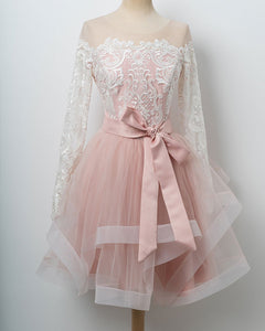 Long Sleeves Pink and White Short Homecoming Prom Dress Cocktail Party Gown