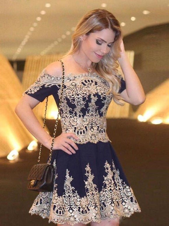 Siaoryne SP005 short homecoming dress with off the shoulder short sleeves navy blue appliqued lace gold