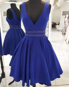 V Neck A Line Homecoming Dress Short Cocktail Gown with Beading Belt