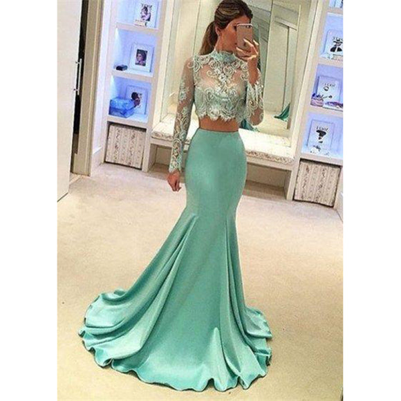 Siaoryne LP003 Two Pieces Long Mermaid Mint Prom Dress Formal Evening Party Dresses