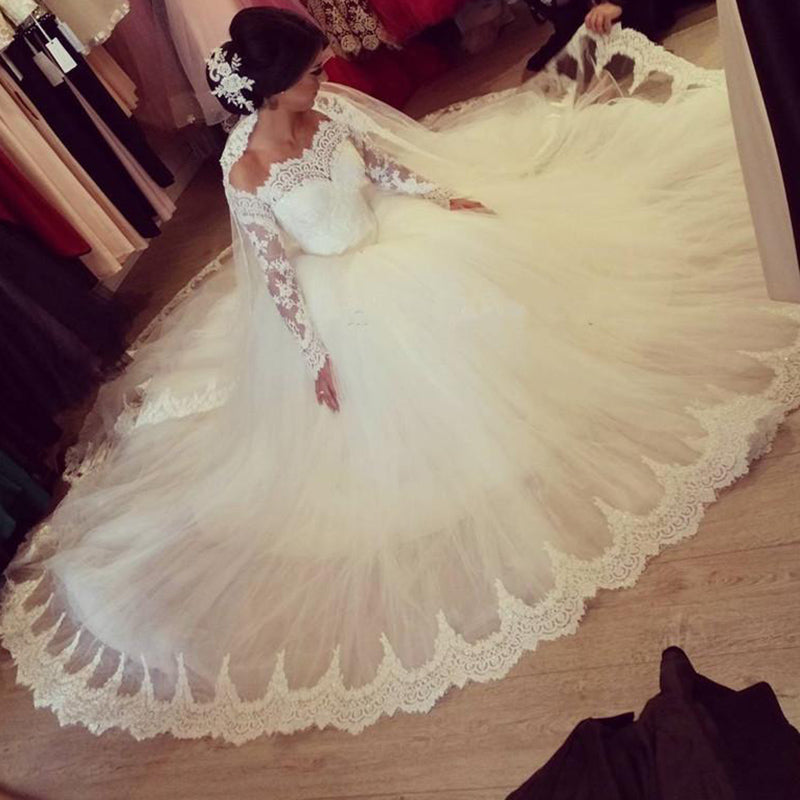 cf7f0136971 ... Romantic WD0826 off the shoulder long sleeves Princess Bridal Gown 2018  Poofy Tulle Ball Gown Lace ...
