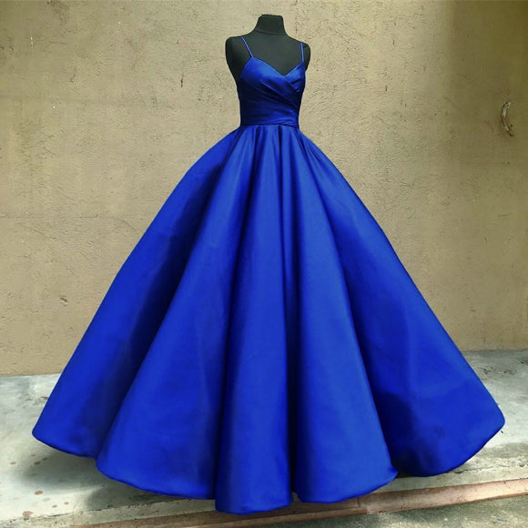 Fashion Satin Royal Blue Evening Dress Long Ball Gown Wedding Dress Engagement Gown LP408