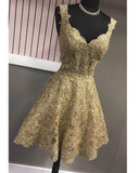 Gold Lace Homecoming Dress 8th grade Graduation Gown with Straps Vestido De Festa Curto