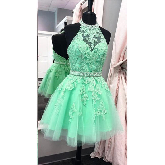 Siaoryne SP005 Halter Tulle lace A Line Short Homecoming Dresses Mini Cocktail Gowns