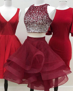 f18fd3a4441 Crop Top Ombre Beaded Poofy Homecoming Prom Dress Short Skirt Cocktail  Party Gown
