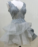 Gray Short Cocktail Party Gown Girls Semi Formal Prom Homecoming Dresses