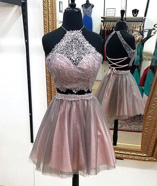 Siaoryne LP012 Short Prom Dress Two Pieces Homecoming Dresses with lace