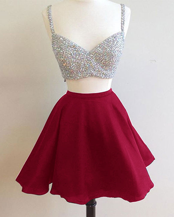 Short Prom Dresses with Beading Homecoming Party Gown 2 Pieces with Spaghetti Straps