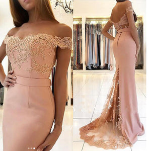 Pink Off the Shoulder Mermaid Prom Dress Long Lace Appliqued 2018 Abendkleid Evening Party Dress