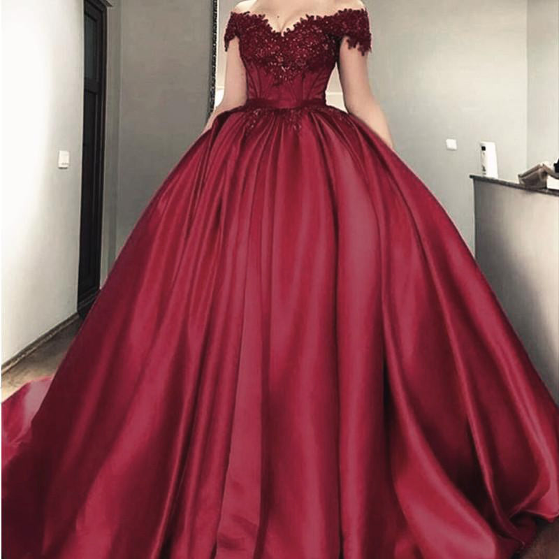 Maroon Wedding Gown: Luxury Ball Gown Wedding Dress Burgundy Bridal Reception