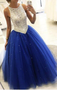 286166d6633e Siaoryne Royal Blue Beaded Ball Gown Girls Sweet 16 Prom Party Dresses