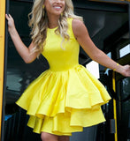 Bright Yellow Short Dresses Homecoming Gown for Junior 8th Graduation Gown