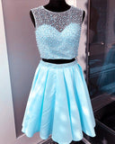 Sky Blue Pearl and Beading 2 pieces Short Junior Prom Homecoming Dress for 8th Grade