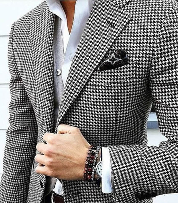 Black and White Tweed Wedding Suit three Pieces (jacket+pants +bow) Men Tuxedo SP241