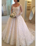 High Quality Lace Wedding dress Long Sleeves Vintage Robe De Mariee WD888