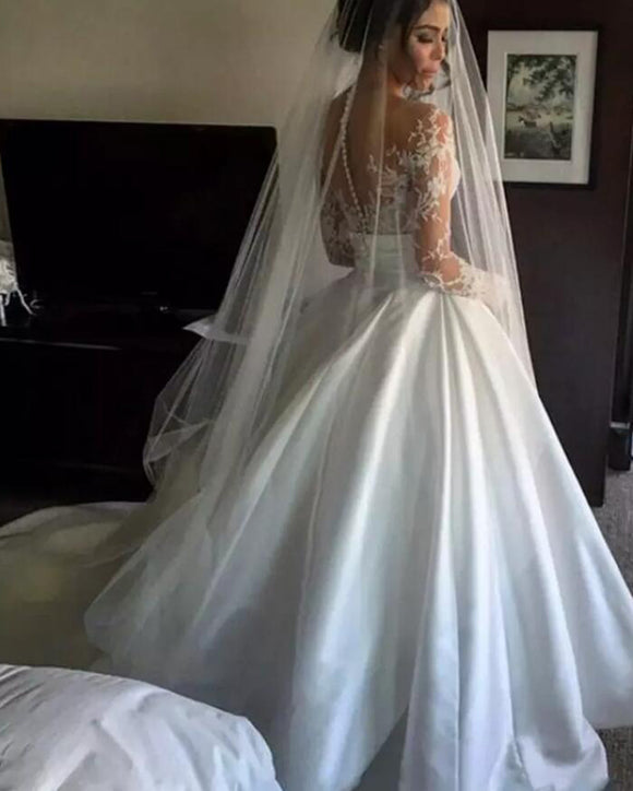 Princess Romantic Wedding Dress Ball Gown with Long Sleeves  Vestido De Novias WD621