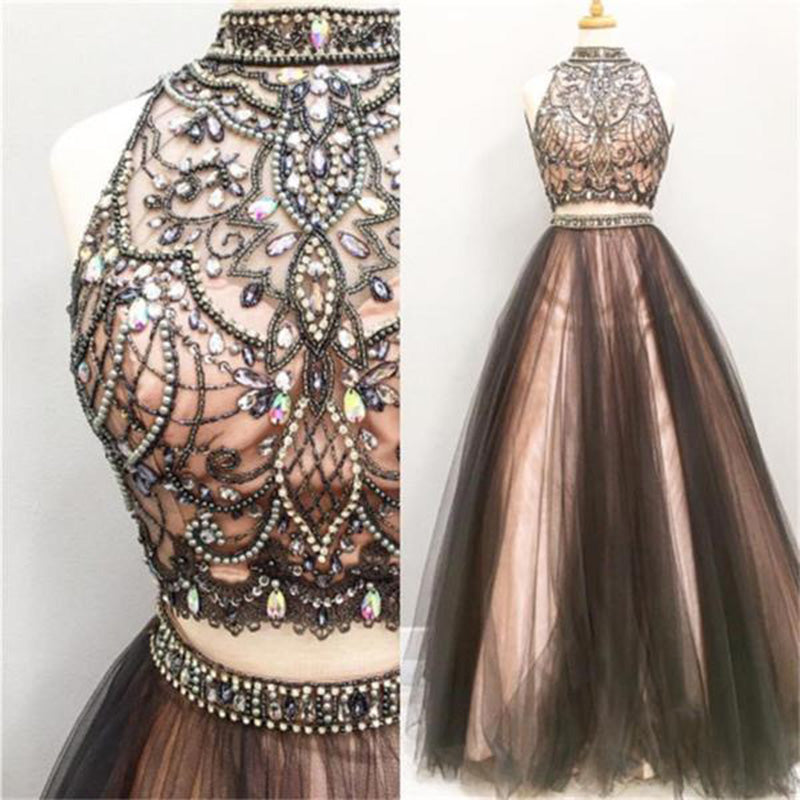 Lp077 Crop Top High Neck Beaded Prom Gown For Girls Senior Formal Long Dresses