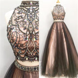 LP077  Crop Top High Neck Beaded Prom Gown For Girls ,Senior Formal Long Dresses