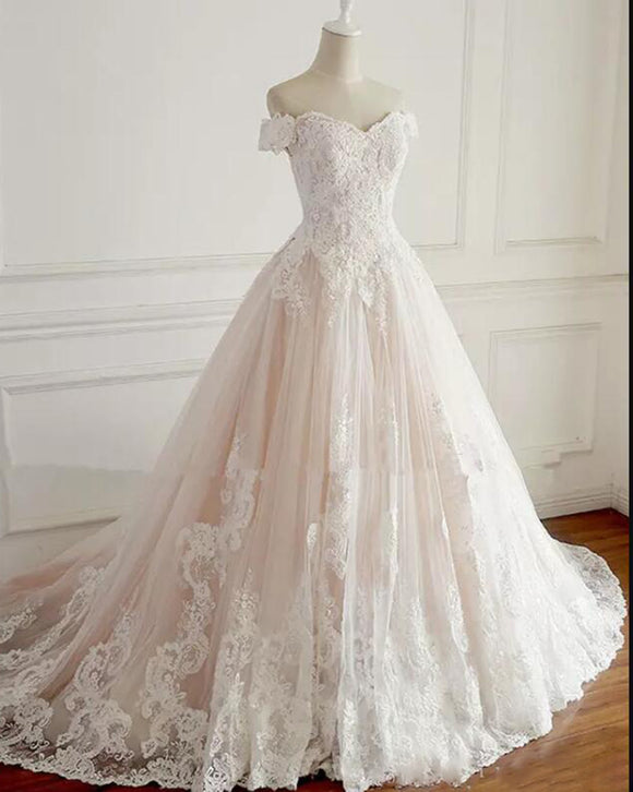 White /Pink Two Colors Wedding Dresses lace Princess Bride Dresses WD220