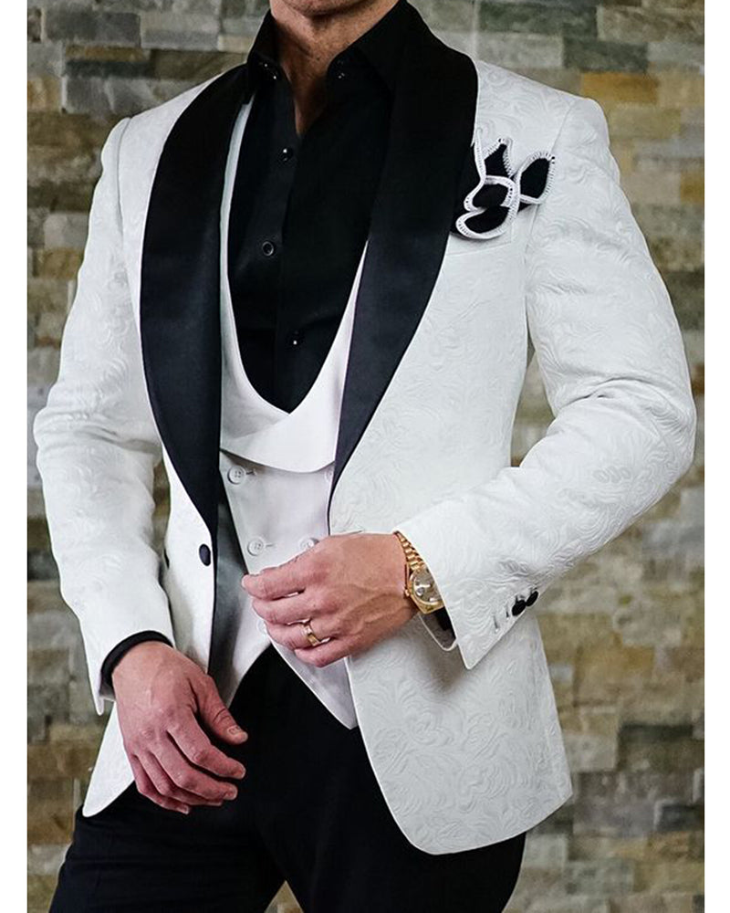 Black And White Jacquard Men Wedding Suit For Groom Two