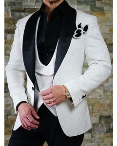 Black And White Jacquard Men Wedding Suit For Groom Two Pieces Jacket Pants Cb554