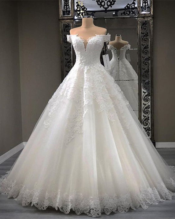 Off the Shoulder Princess 2019 Lace Bridal Dresses Women Wedding Gown WD652