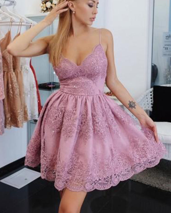 Sweet Short Pink Dress Lace Homecoming Dress With Straps SP322