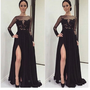 Stylish Long Sleeves Black Prom Dresses Illusion Long Party Evening Gown Lace with Sexy Slit LP6605