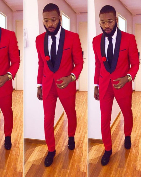 Black and Red Wedding Suit for Men Two Pieces (Jacket+pants)