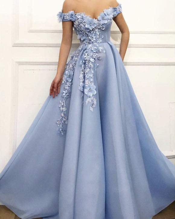 Sky blue prom dress off the shoulder formal dresses with handmade flowers