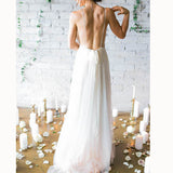 Simple Sexy Plunge V Neck Spaghetti Beach wedding Gown Summer Bridal Dresses Vestido De Novias
