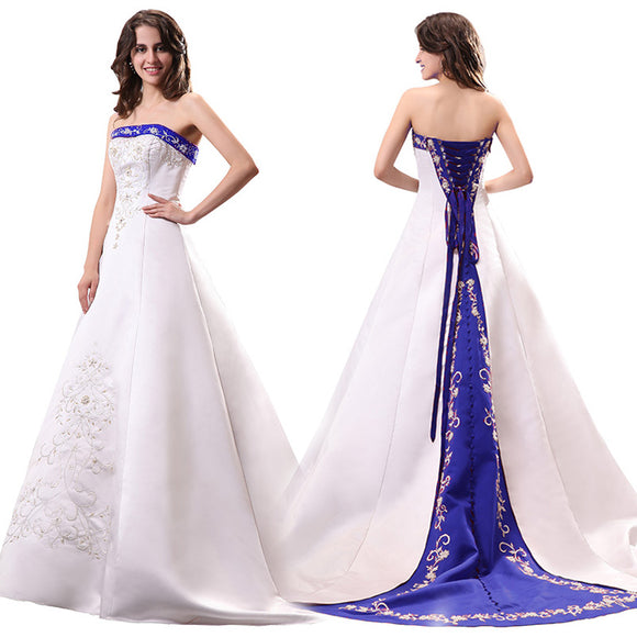 Unique Blue and White Wedding Dress A Line Satin Embroidery Beaded Bridal Dresses Robe De Mariee