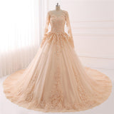 Champagne Vintage Wedding Dress Muslim Bridal Gown with Lace WD687