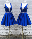 Siaoryne LP014 Royal Blue Short satin Elegant Homecoming Dress Graduation cocktail Semi formal Gowns Deep V Neck