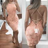 Siaoryne LP016 Halter Sexy Lace Homecoming Dress Cocktail Gowns for Teens