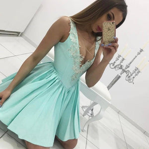 Siaoryne LP017 Short blue Lace sexy V Neck Homecoming Dress
